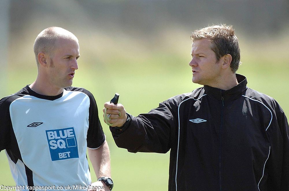 MARK COOPER MANAGER AND ADAM SINCLAIR ASSISTANT MANAGER,  KETTERING TOWN Kettering Town First Day Back Training 5th July 2008