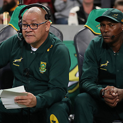 DURBAN, SOUTH AFRICA - AUGUST 18: Charles Wessels Operational Head of South Africa with JJ Fredericks (Logistics Manager) during the Rugby Championship match between South Africa and Argentina at Jonsson Kings Park on August 18, 2018 in Durban, South Africa. (Photo by Steve Haag/Gallo Images)