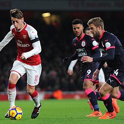 Mesut Özil of Arsenal on the ball during Arsenal vs Huddersfield, Premier League, 29.11.17 (c) Harriet Lander | SportPix.org.uk