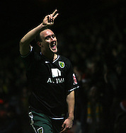 London - Wednesday, December 12th, 2008: Lee Croft of Norwich City celebrates scoring the first Norwich goal against Watford during the Coca Cola Championship match at Vicarage Road, London. (Pic by Chris Ratcliffe/Focus Images)