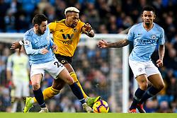 Adama Traore of Wolverhampton Wanderers takes on Gabriel Jesus and Bernardo Silva of Manchester City - Mandatory by-line: Robbie Stephenson/JMP - 14/01/2019 - FOOTBALL - Etihad Stadium - Manchester, England - Manchester City v Wolverhampton Wanderers - Premier League