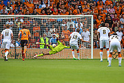 Nikica Jelavić slots home the penalty to put Hull in front during the Sky Bet Championship match between Wolverhampton Wanderers and Hull City at Molineux, Wolverhampton, England on 16 August 2015. Photo by Shane Healey.
