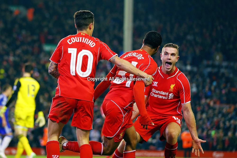 20.01.2015.  Anfield, Liverpool, England. Capital One Cup Semi Final. Liverpool versus Chelsea. Liverpool midfielder Raheem Sterling celebrates scoring his teams first goal (1-1)