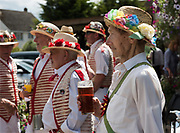 Thaxted Morris Weekend 3-4 June 2017<br /> A meeting of member clubs of the Morris Ring celebrating the 90th anniversary of the founding of the Thaxted Morris Dancing side or team in Thaxted, North West Essex, England UK. <br /> dancing and drinking beer at The Horse and Groom pub at Cornish Hall End, Essex.<br /> Hundred of Morris dancers from the UK and this year the Silkeborg side from Denmark spend most of Saturday dance outside pubs in nearby villages where much beer is consumed. In the late afternoon all the sides congregate in Thaxted where massed dancing is perfomed along Town Street. As darkness falls across Thaxted the spell binding Abbots Bromley Horn Dance is performed to the sound of a solo violin in the dark.