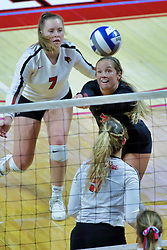 BLOOMINGTON, IL - October 12: Kendal Meier and Courtney Pence during a college Women's volleyball match between the ISU Redbirds and the Valparaiso Crusaders on October 12 2018 at Illinois State University in Bloomington, IL. (Photo by Alan Look)