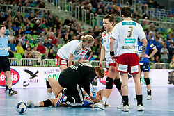 Isabel Blanco #5 of Larvik HK injured during handball match between RK Krim Mercator (SLO) and Larvik HK (NOR) in 1st Round of Women's Champions League on February 1, 2014 in Arena Stozice, Ljubljana, Slovenia. Photo by Urban Urbanc / Sportida
