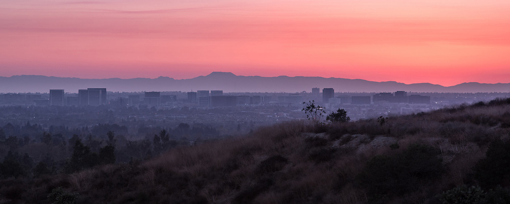 Irvine Skyline with Catalina Island in the Back at Dusk
