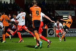 Wolves midfielder Lee Evans takes a shot at goal  - Photo mandatory by-line: Mitchell Gunn/JMP - Tel: Mobile: 07966 386802 01/04/2014 - SPORT - FOOTBALL - Broadhall Way - Stevenage - Stevenage v Wolverhampton Wanderers - League One