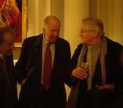 Lucian Freud, Lord Rothschild and David Hockney, Opening of an exhibition of watercolours by David Hockney. Midsummer: East Yorkshire 2004, Gilbert Collection. Somerset House. 16  November 2005 . ONE TIME USE ONLY - DO NOT ARCHIVE © Copyright Photograph by Dafydd Jones 66 Stockwell Park Rd. London SW9 0DA Tel 020 7733 0108 www.dafjones.com