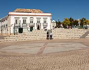 Modern open amphitheatre in Praca da Republica, Tavira, Portugal, southern Europe