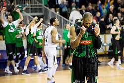Jordan Morgan of Petrol Olimpija celebrates after winning during basketballl match between KK Petrol Olimpija Ljubljana and KK Partizan NIS mts in Round #20 of ABA League 2017/18, on February 10, 2018 in Tivoli sports hall, Ljubljana, Slovenia. Photo by Vid Ponikvar / Sportida
