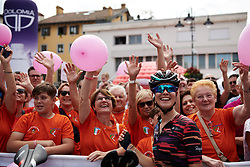 Elena Cecchini (ITA) with her fan club at Giro Rosa 2018 - Stage 10, a 120.3 km road race starting and finishing in Cividale del Friuli, Italy on July 15, 2018. Photo by Sean Robinson/velofocus.com
