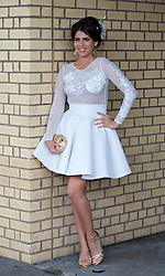 LIVERPOOL, ENGLAND - Friday, April 4, 2014: Emilee Price of Skelmersdale during Ladies' Day on Day Two of the Aintree Grand National Festival at Aintree Racecourse. (Pic by David Rawcliffe/Propaganda)