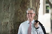 24 MAY 2012, BERLIN/GERMANY:<br /> Jochen Quick, Praesident Bundesverband Wirtschaft Verkehr und Logistik, BWVL, an einem baum vor dem Hotel Maritim Berlin<br /> IMAGE: 20120524-01-058