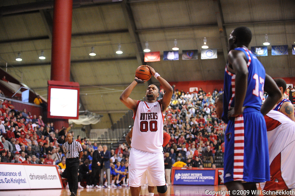 Jan 31, 2009; Piscataway, NJ, USA; Rutgers forward Gregory Echenique (00) takes a foul shot during the second half of Rutgers' 75-56 victory over DePaul in NCAA college basketball at the Louis Brown Athletic Center