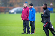 Craig Levein, manager of Heart of Midlothian and Austin MacPhee, assistant manager of Heart of Midlothian watch training ahead of the SPFL Premiership match between Hearts v St Mirren at Oriam Sports Performance Centre, Riccarton, Edinburgh, Scotland on 22 November 2018.