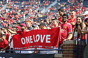 Manchester United fans with banner and flag during the Manchester United and Liverpool International Champions Cup match at the Michigan Stadium, Ann Arbor, United States on 28 July 2018.