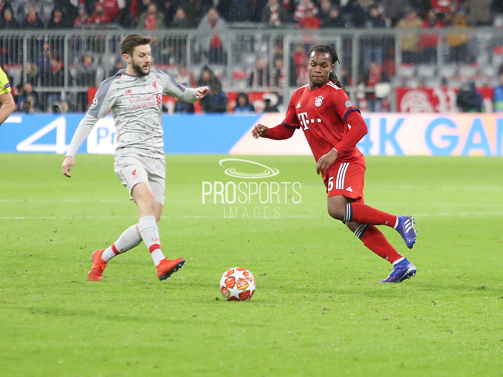 Renato Sanchez of Bayern Munich against Adam Lallana of Liverpool during the Champions League round of 16, leg 2 of 2 match between Bayern Munich and Liverpool at the Allianz Arena stadium, Munich, Germany on 13 March 2019.