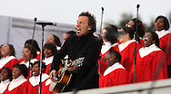 """Bruce Springsteen at the """"We Are One""""  The Obama Inaugural Celebration at the Lincoln Memorial on January 18, 2009.  Photo by Dennis Brack"""