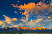 Clouds and The Canadian Rocky Mountains at sunrise. <br />David Thompson Highway<br />Alberta<br />Canada