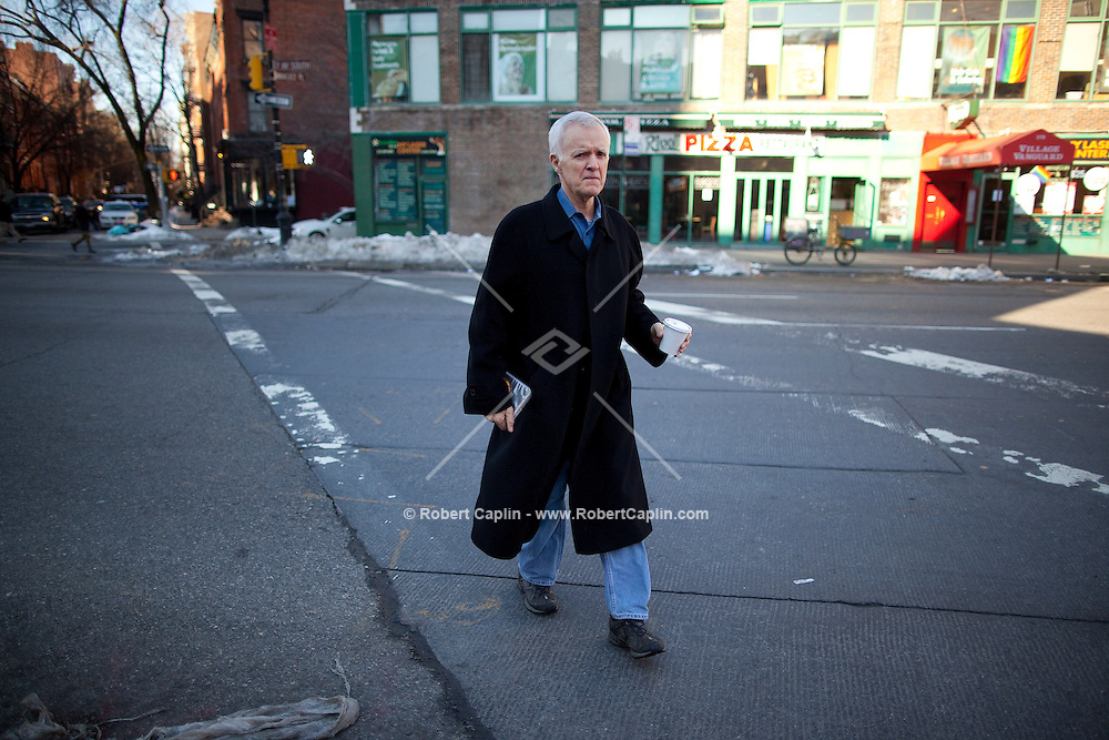 "Joseph Robert ""Bob"" Kerrey runs Sunday afternoon errands around his Greenwich Village neighborhood in New York. Kerry was the 35th Governor of Nebraska from 1983 to 1987 and a U.S. Senator from Nebraska (1989-2001). Having served in the Vietnam War, earning the Medal of Honor for his actions, he moved into politics. He was an unsuccessful candidate for the Democratic presidential nomination in 1992. Since leaving the Senate he has served as president of The New School and served on the 9/11 commission."