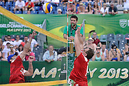 Sebastian Swiderski (L) and Cezary Pazura (R) while exhibition match of Special Olympics Poland during Day 7 of the FIVB World Championships on July 7, 2013 in Stare Jablonki, Poland. <br /> <br /> Poland, Stare Jablonki, July 07, 2013<br /> <br /> Picture also available in RAW (NEF) or TIFF format on special request.<br /> <br /> For editorial use only. Any commercial or promotional use requires permission.<br /> <br /> Mandatory credit:<br /> Photo by © Adam Nurkiewicz / Mediasport