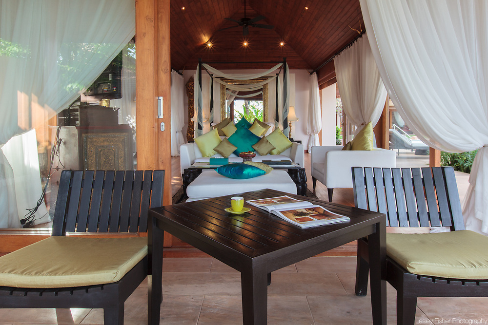 Outdoor lounging at Baan Wanora, a luxury, private, beach front villa located in Laem Sor, Koh Samui, Thailand