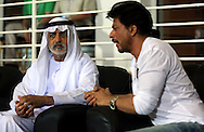 His Excellency Shaikh Nahayan Mubarak and Sharaukh Khan owner of Kokatta Knight Riders during match 15 of the Pepsi Indian Premier League 2014 Season between The Kings XI Punjab and the Kolkata Knight Riders held at the Sheikh Zayed Stadium, Abu Dhabi, United Arab Emirates on the 26th April 2014<br /> <br /> Photo by Sandeep Shetty / IPL / SPORTZPICS