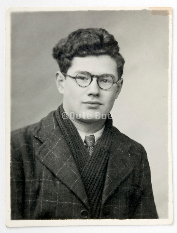 vintage identity style head and shoulder portrait of a young adult man