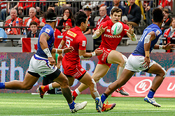 March 9, 2019 - Vancouver, BC, U.S. - VANCOUVER, BC - MARCH 10: Nathan Hirayama (c) #9 of Canada passes to Matt Mullins #1 of Canada during Game #6- Samoa 7s vs Canada 7s in Pool B match-up at the Canada Sevens held March 9-10, 2019 at BC Place Stadium in Vancouver, BC, Canada.(Photo by Allan Hamilton/Icon Sportswire) (Credit Image: © Allan Hamilton/Icon SMI via ZUMA Press)