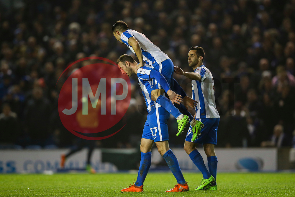 Anthony Knockaert of Brighton & Hove Albion, Sam Baldock of Brighton & Hove Albion celebrate with Glenn Murray of Brighton & Hove Albion with their third goal, Brighton & Hove Albion 3-0 Derby County - Mandatory by-line: Jason Brown/JMP - 10/03/2017 - FOOTBALL - Amex Stadium - Brighton, England - Brighton and Hove Albion v Derby County - Sky Bet Championship