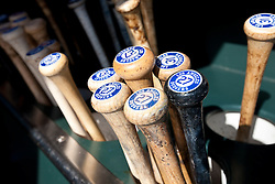 SAN FRANCISCO, CA - APRIL 17:  Detailed view of baseball bats belonging to Matt Kemp #27 of the Los Angeles Dodgers (not pictured) in the dugout before the game against the San Francisco Giants at AT&T Park on April 17, 2014 in San Francisco, California. The Los Angeles Dodgers defeated the San Francisco Giants 2-1.  (Photo by Jason O. Watson/Getty Images) *** Local Caption ***