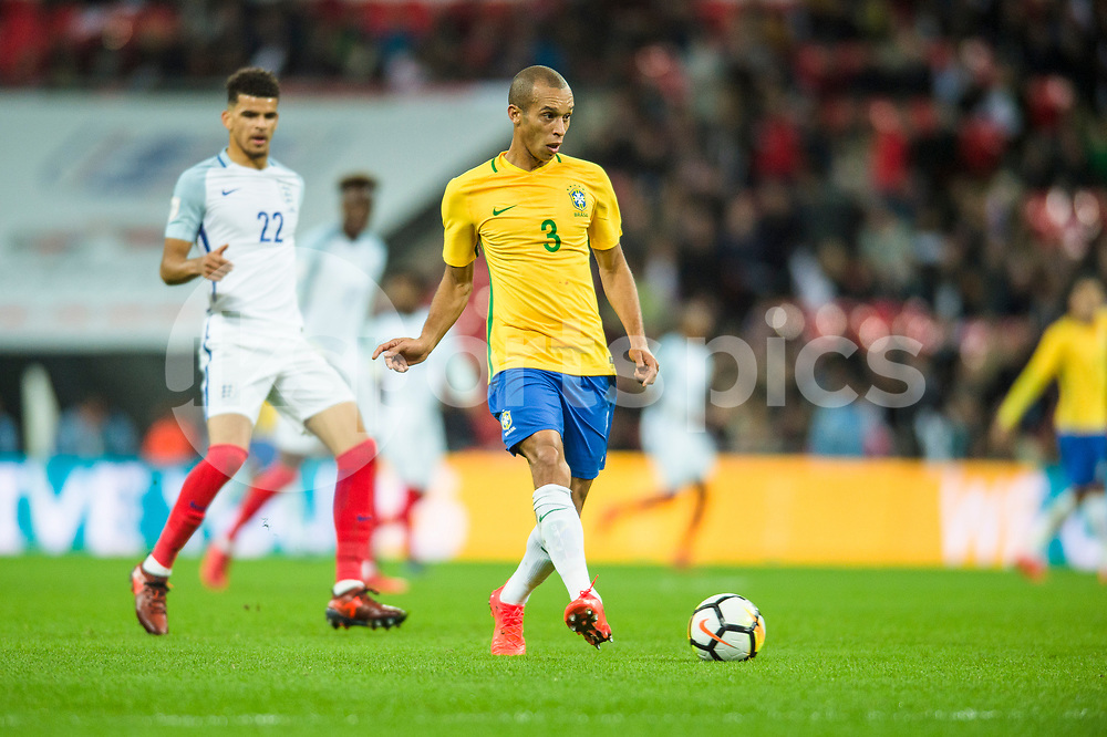 Miranda of Brazil in action during the international friendly match between England and Brazil at Wembley Stadium, London, England on 14 November 2017. Photo by Darren Musgrove.