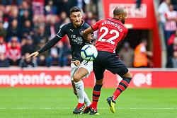 Matthew Lowton of Burnley is challenged by Nathan Redmond of Southampton - Mandatory by-line: Ryan Hiscott/JMP - 12/08/2018 - FOOTBALL - St Mary's Stadium - Southampton, England - Southampton v Burnley - Premier League