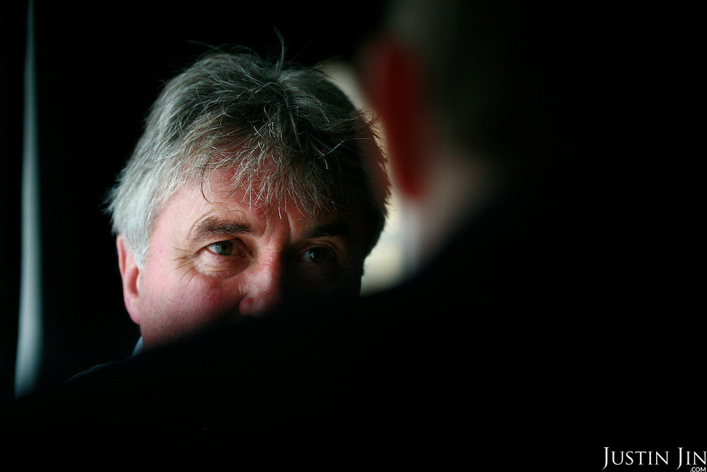Russia's national football team coach Guus Hiddink talks to a journalist in a cafe inside the team's training grounds. Hiddink, originally from the Netherlands, made fame by coaching the South Korean and Australian national teams to great success during successive World Cups.