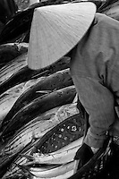 A woman inspects a fish at the riverside fish market in Hoi An.