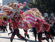 Dragon dancers perform during the 119th annual Chinese New Year &quot;Golden Dragon Parade&quot; in the streets of Chinatown in Los Angeles, the United States, Saturday Feburary 17, 2018. (Xinhua/Zhao Hanrong)<br /> 2月17日,在美国洛杉矶,舞龙队伍在游行队伍里表演。当日,第119届金龙大游行在洛杉矶举行,庆祝中国农历新年。 (Photo by Ringo Chiu)<br /> <br /> Usage Notes: This content is intended for editorial use only. For other uses, additional clearances may be required.