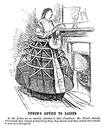 Punch's Advice to Ladies. As the ladies are so WARMLY attached to their Crinolines, Mr Punch strongly recommends that, instead of discarding them, they should wear them outside their dresses to serve as a Fire-guard.