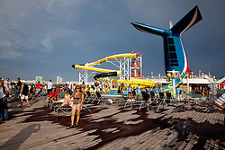 Carnival Cruise Line - Imagination. On the top deck with water slide.
