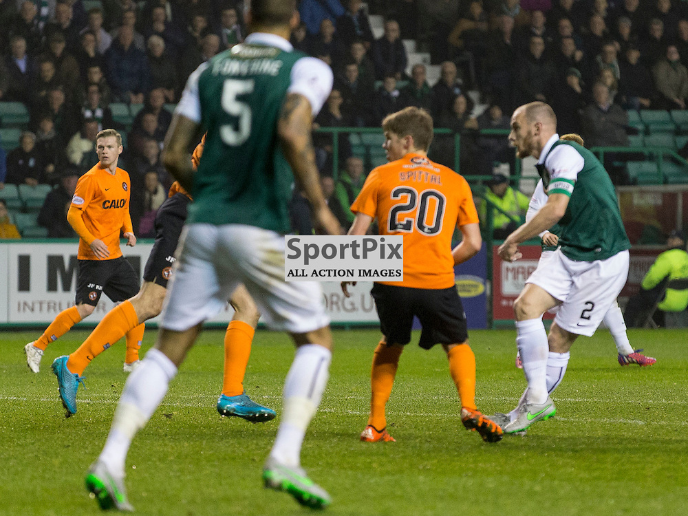Hibernian FC v Dundee Utd FC<br /> <br /> David Gray scores opening goal Hibernian captain) celewduring the Quarter Final of the Scottish League Cup match between Hibernian and Dundee Utd FC at Easter Road Stadium on Wednesday 4 November 2015.<br /> <br /> Picture Alan Rennie.