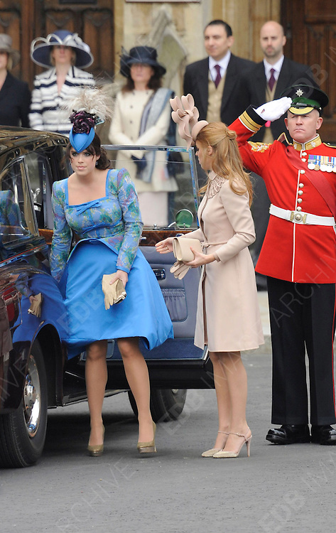 29.APRIL.2011. LONDON<br /> <br /> PRINCESS BEATRICE AND PRINCESS EUGENIE ARRIVING AT WESTMINSTER ABBEY FOR THE PRINCE WILLIAM AND CATHERINE MIDDLETON ROYAL WEDDING IN LONDON<br /> <br /> BYLINE: EDBIMAGEARCHIVE.COM<br /> <br /> *THIS IMAGE IS STRICTLY FOR UK NEWSPAPERS AND MAGAZINES ONLY*<br /> *FOR WORLD WIDE SALES AND WEB USE PLEASE CONTACT EDBIMAGEARCHIVE - 0208 954 5968*