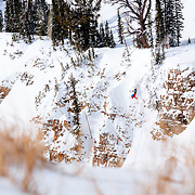 Andrew Whiteford sends a monster backflip to knee injury in the backcountry near Jackson Hole Mountain Resort.