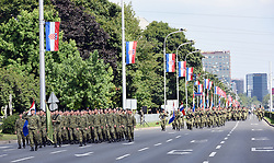 01.08.2015, Zagreb, CRO, Generalprobe zur Militärparade in Zagreb, Anlässlich des 20. Jahrestages des Militäroperation Sturm, im Bild Übersicht auf die Parada // during Rehearsal of Ceremonial military parade on the occasion of the 20th anniversary of the military operation Storm. Zagreb, Croatia on 2015/08/01. EXPA Pictures © 2015, PhotoCredit: EXPA/ Pixsell/ Davor Visnjic<br /> <br /> *****ATTENTION - for AUT, SLO, SUI, SWE, ITA, FRA only*****