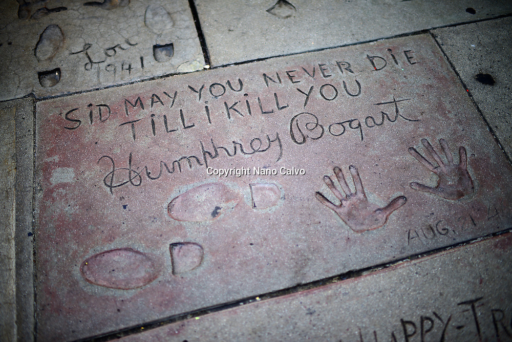 Humphrey Bogart´s prints in Grauman's Chinese Theatre, Hollywood Boulevard.