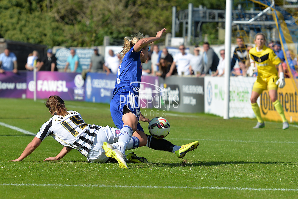 Notts County Ladies defender Amy Turner brings down Chelsea Ladies forward Gemma Davison during the FA Women's Super League match between Chelsea Ladies FC and Notts County Ladies FC at Staines Town FC, Staines, United Kingdom on 6 September 2015. Photo by Mark Davies.