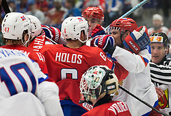 Jonas Holos of Norway in fight with Danis Zaripov of Russia during Ice Hockey match between Russia and Norway at Day 1 in Group B of 2015 IIHF World Championship, on May 1, 2015 in CEZ Arena, Ostrava, Czech Republic. Photo by Vid Ponikvar / Sportida