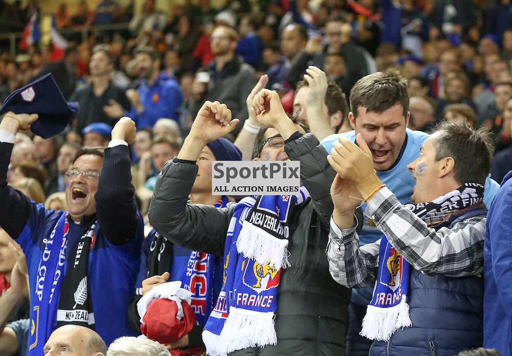 French suporters celebrate France's first try during the Rugby World Cup Quarter Final, New Zealand v France, Saturday 17 October 2015, Millenium Stadium, Cardiff (Photo by Mike Poole - Photopoole)