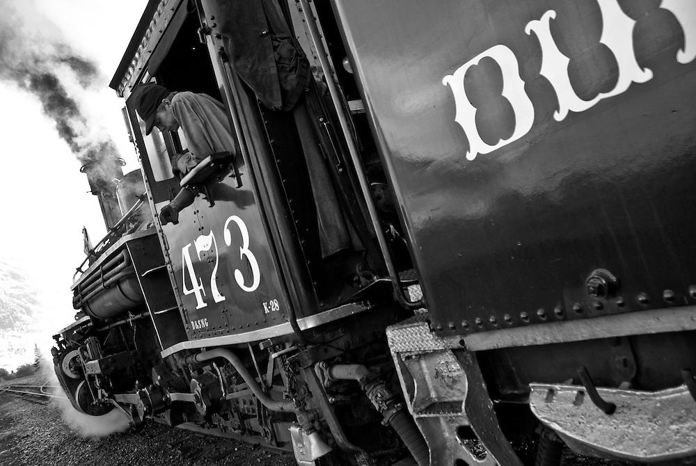 Durango & Silverton Narrow Guage railroad. Engine No. 473 stationed at the Silverton, Colorado depot.