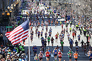April 21, 2014 - Boston, Massachusetts, U.S. - <br /> <br /> Boston Marathon 2014<br /> <br /> Tens of thousands of runners cross the finish line of the 2014 Boston Marathon in Boston, Massachusetts.<br /> ©Exclusivepix