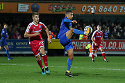 AFC Wimbledon striker Kweshi Appiah (9) controlling the ball during the EFL Sky Bet League 1 match between AFC Wimbledon and Gillingham at the Cherry Red Records Stadium, Kingston, England on 23 November 2019.